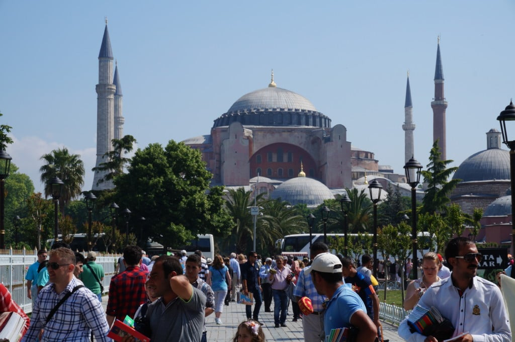 Hagia Sophia is located directly across the Blue Mosque