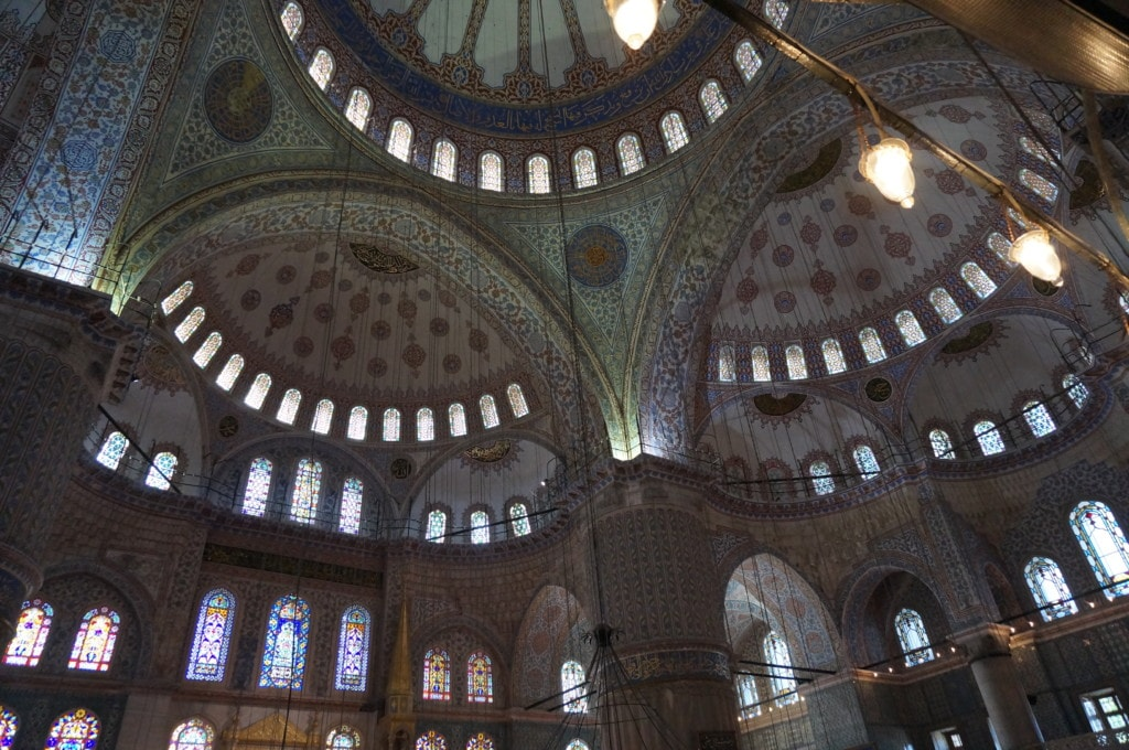 The upper levels are painted blue hence the name Blue Mosque