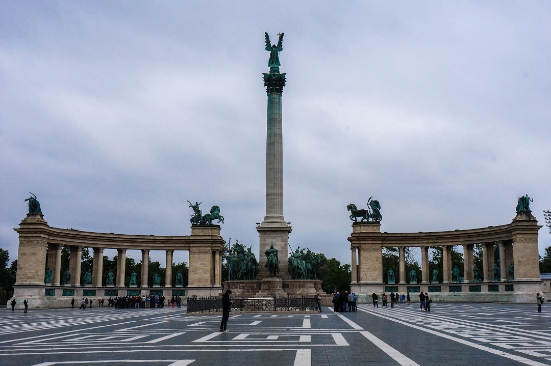 Heroes' Square is a world heritage site and a popular gathering spot for locals whenever something political is going on