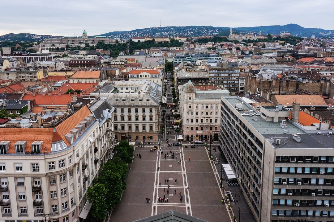 The view from above the basilica offers sweeping views of Budapest