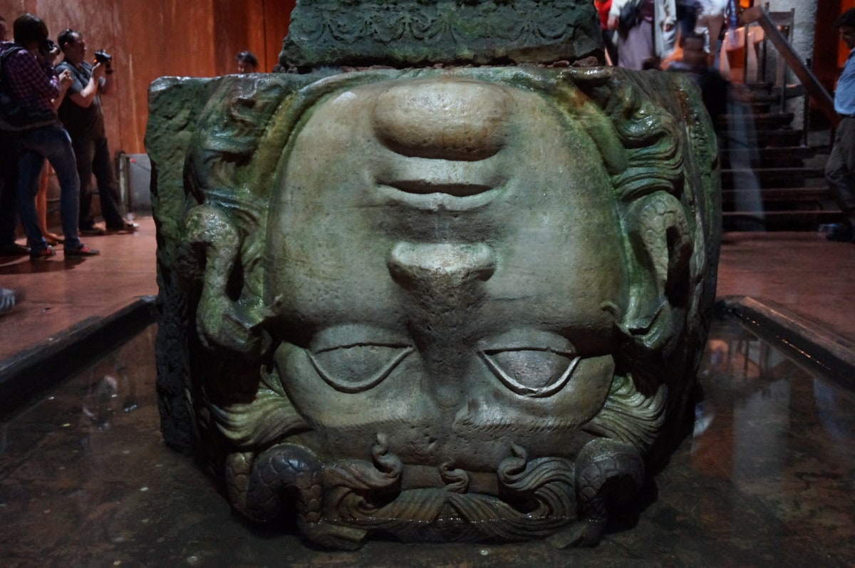 This inverted Medusa head supports one of the columns. No one knows where it came from