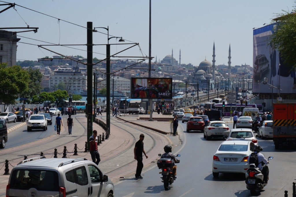 A view of Sultanahmet (old city) in the background from Beyoğlu (the newer area)