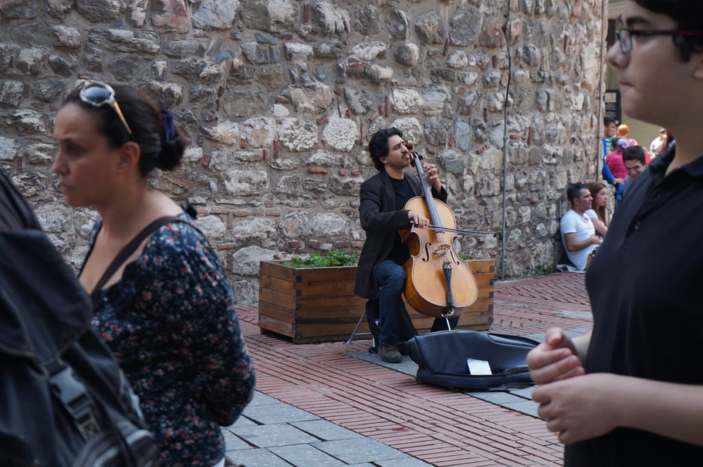 The base of Galta Tower is popular for musicians. At night many locals gather to have coffee and catch up
