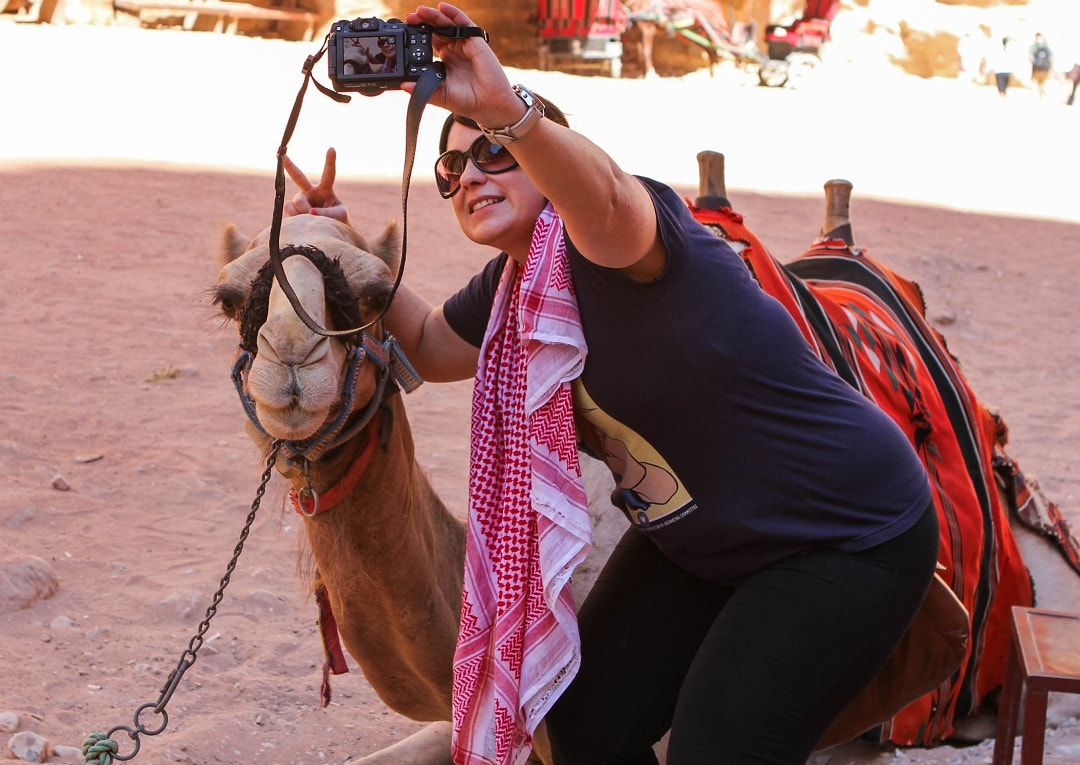 Just taking a selfie with a camel
