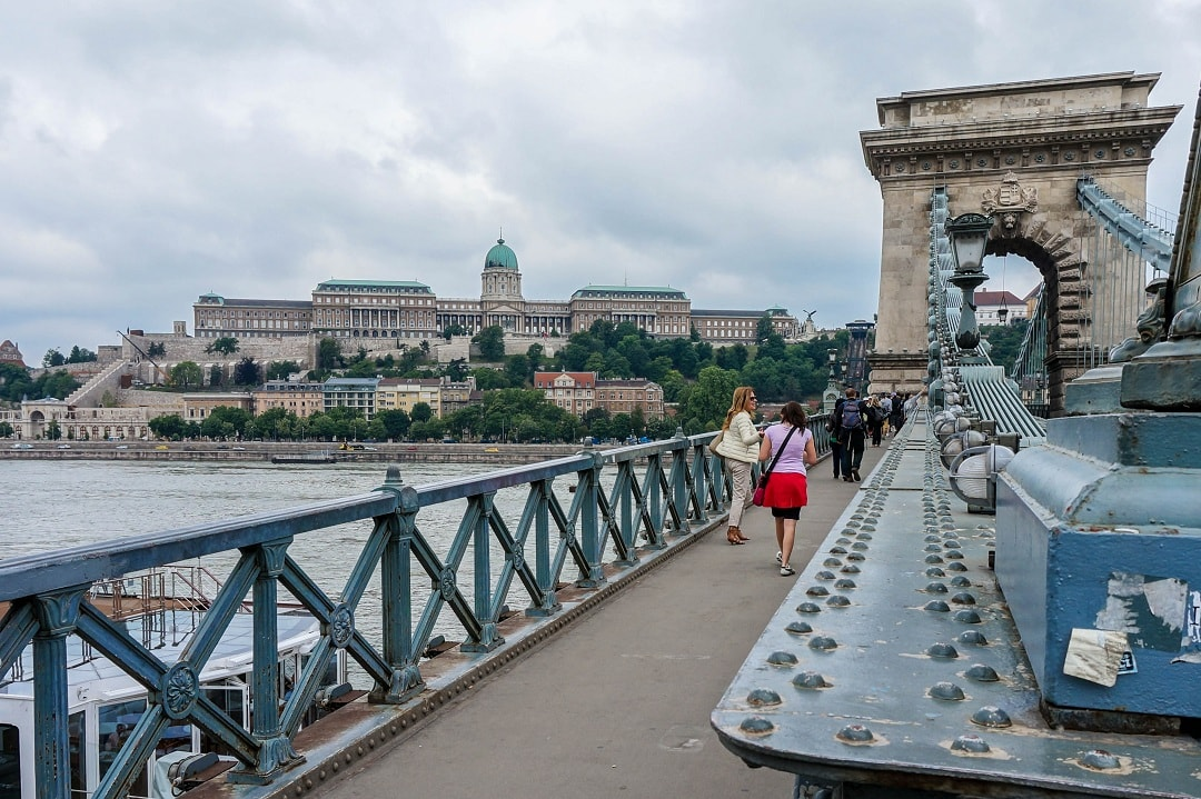 Chain bridge spans the river Danube and connects Buda to Pest
