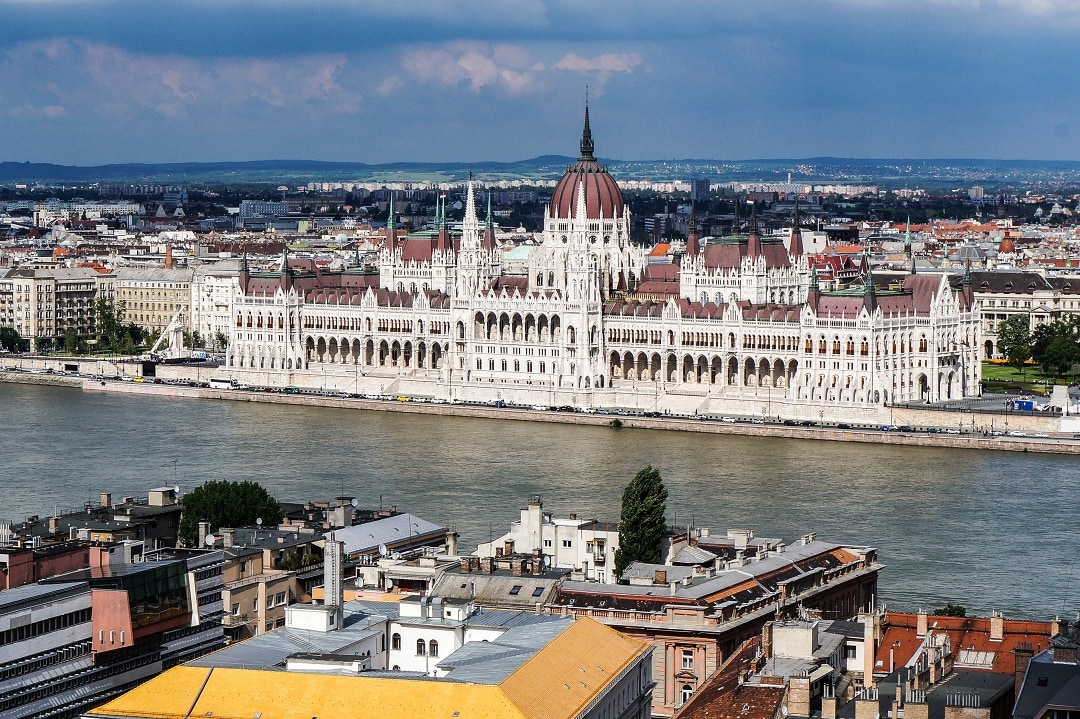 The Hungarian Parliament Building. It was built on the Pest side to give the city some balance