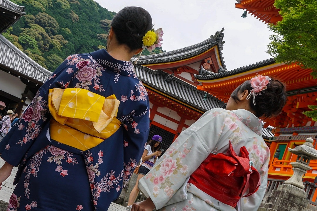 Renting kimonos while visiting Kyoto is very popular