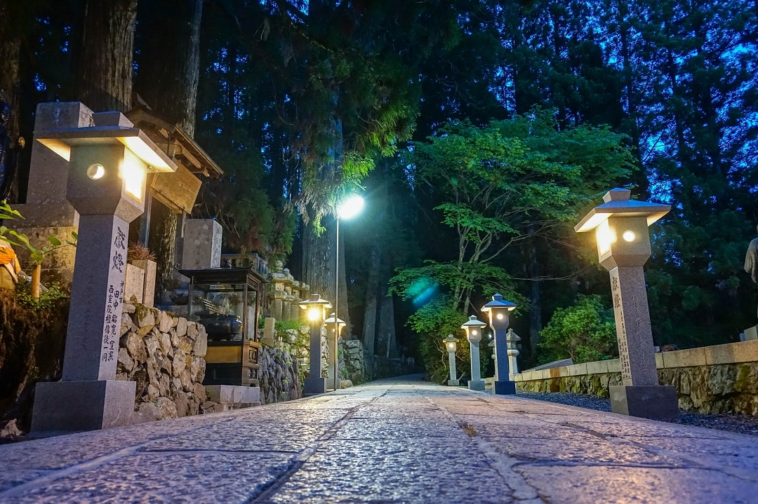 You can take a night tour at Okunoin cemetery