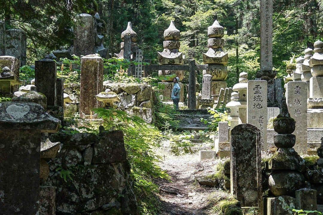 Okunoin cemetery is largest graveyard in Japan