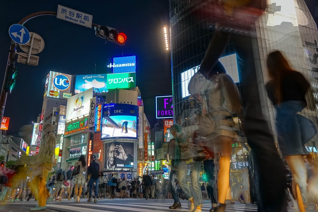 The famous Shibuya crossing from a different angle