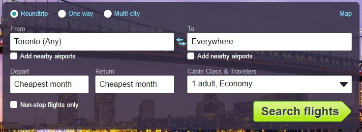 How to find cheap flights search everywhere