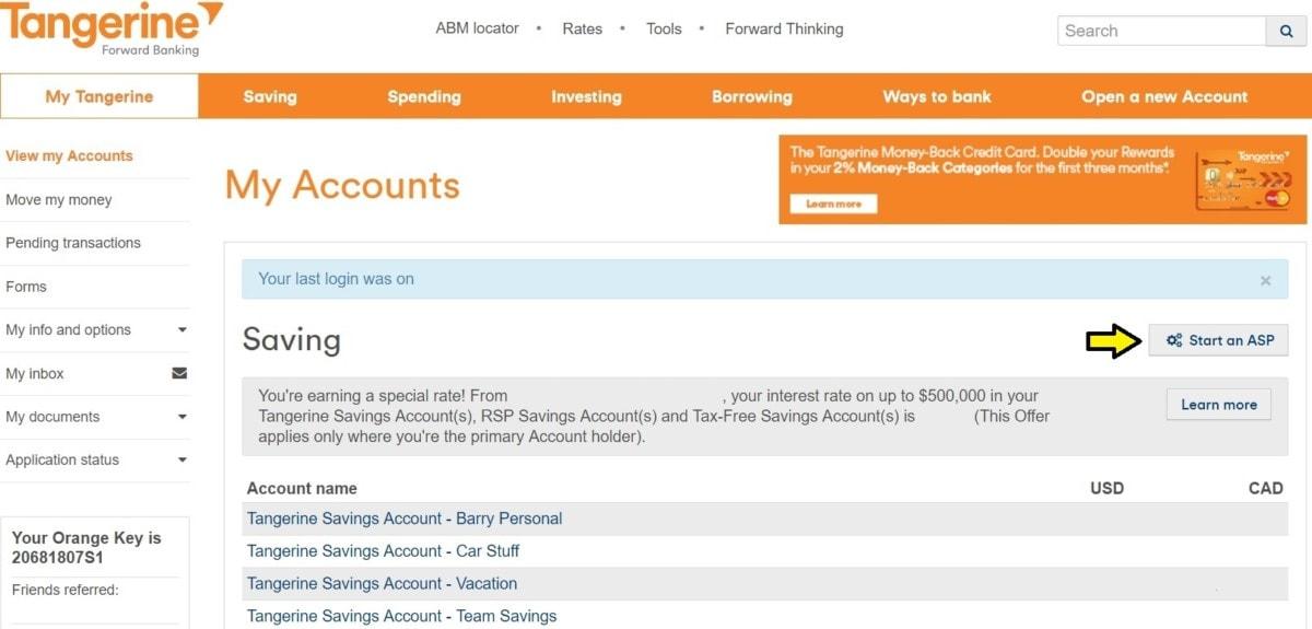 Automatic Savings Program with Tangerine landing page