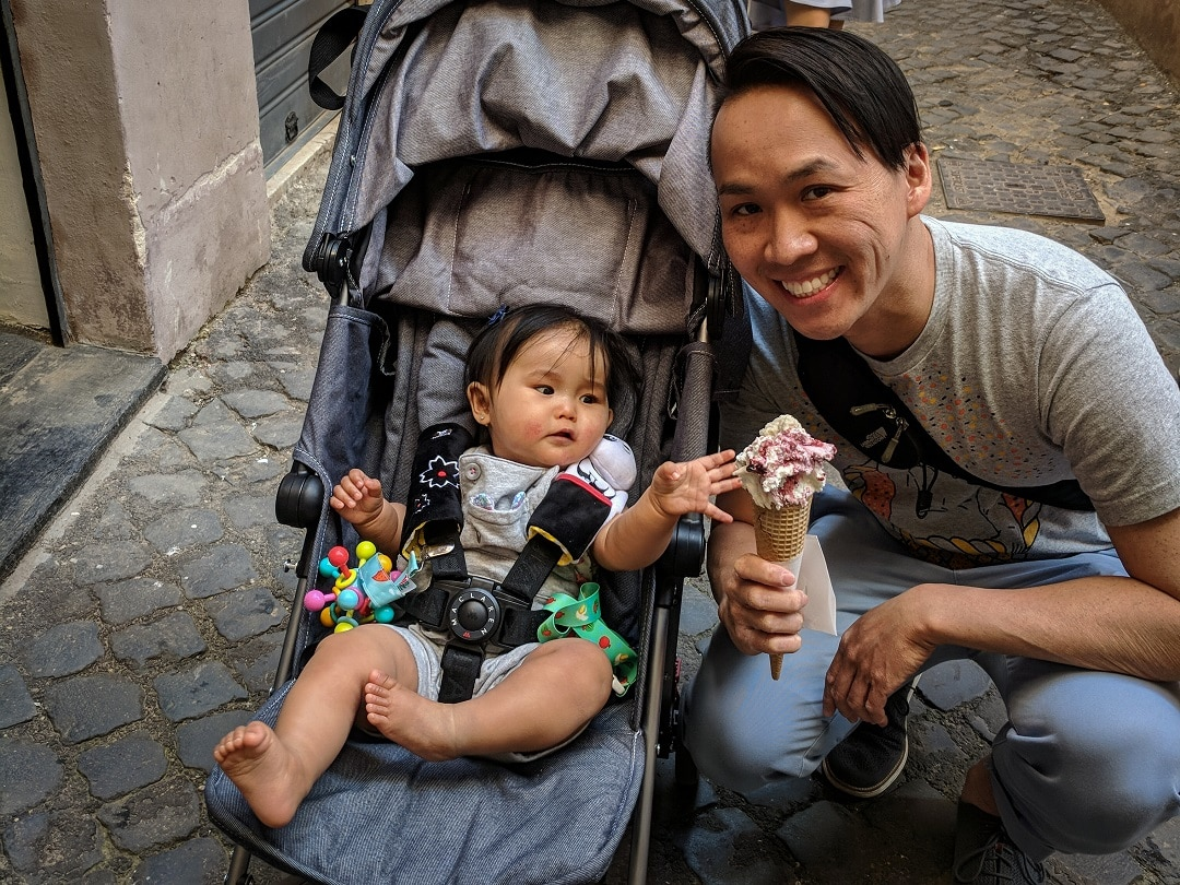 Rome with a baby gelato