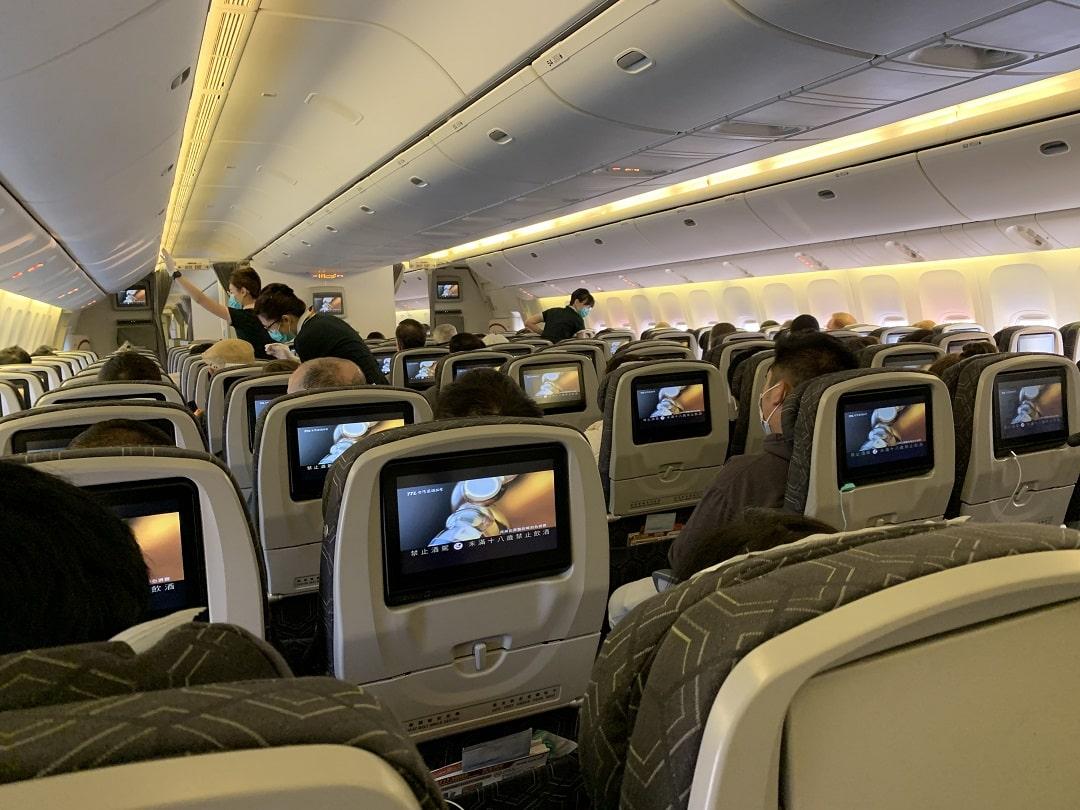 EVA Air Economy Class Boeing 777-300ER Bangkok to Taipei Review airplane