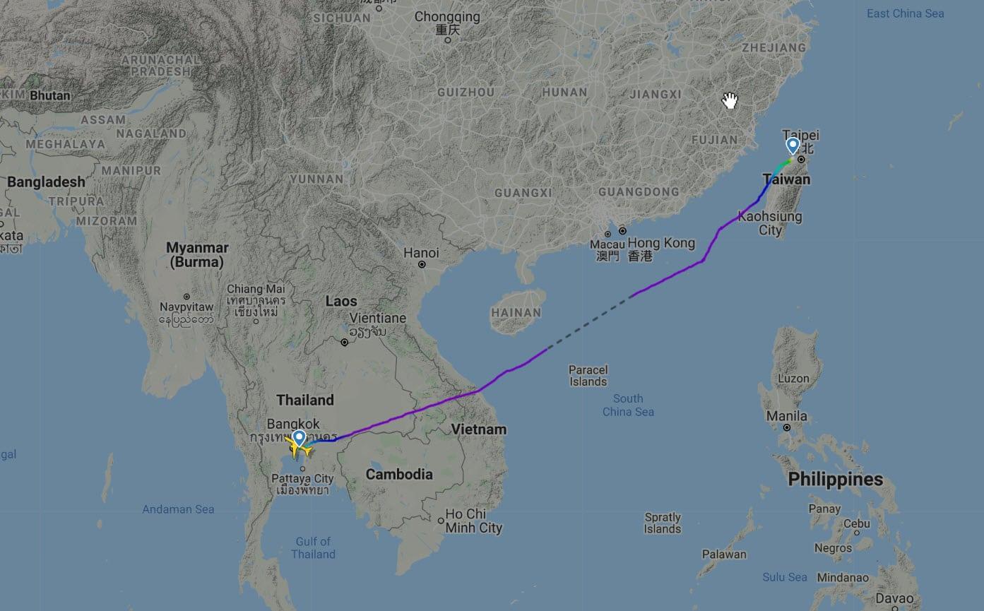 EVA Bangkok to Taipei flight map