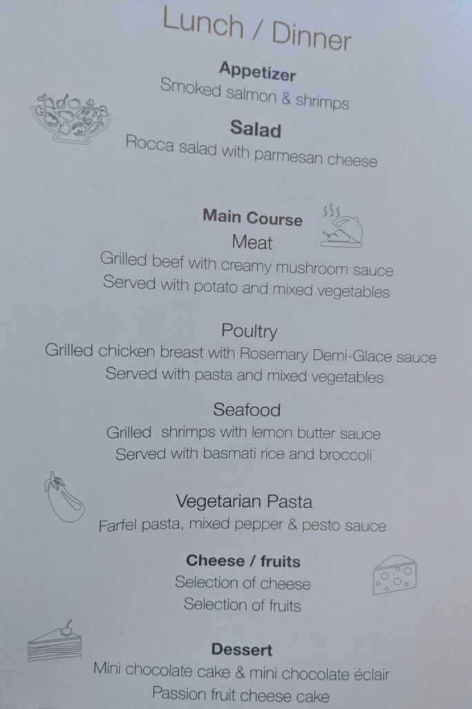 cairo to dubai menu