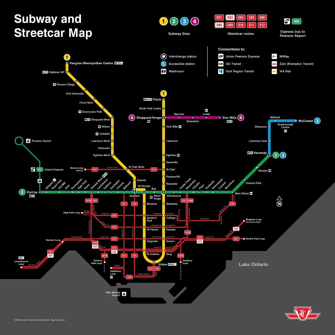Toronto Public Transportation map